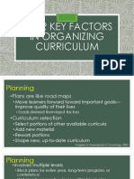 Four Key Factors in Organizing Curriculum