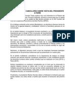 Comunicado de Cancillería Sobre Visita Del Presidente a París