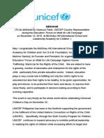 Unicef Vanessa Tobin Endorsement for I Am Sam Foundation Teacher Sam Rayla Melchor Santos