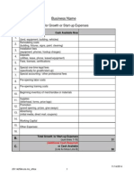 Business Plan Cash Flow Projection Worksheets