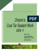 Ontario's Coal Tar Sealant Work 2009-11