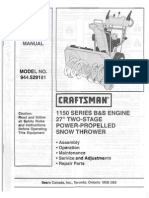 Sears Owners Manual Model No 944.529181 Craftsman 1150 Series BS Engine 27in Two Stage Snow Thrower_small
