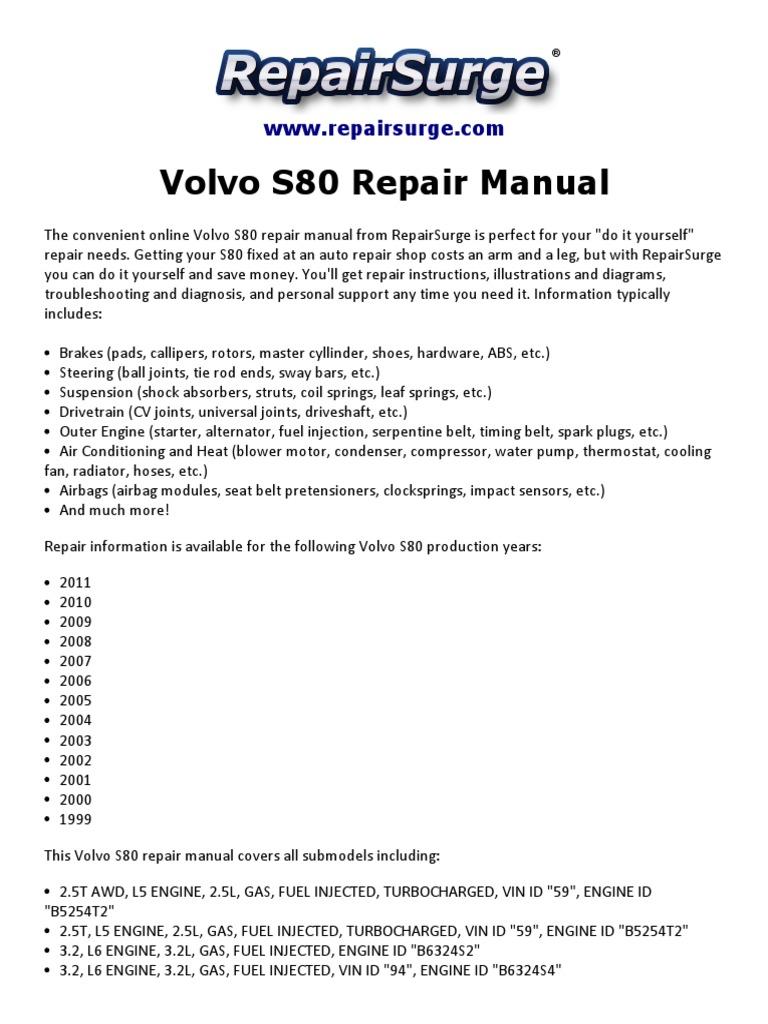 volvo s80 repair manual 1999-2011 | engines | automotive industry  scribd