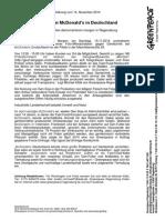 Presseerklärung vom 14.11.2014  Gentechnik bei McDonald`s in Deutschland