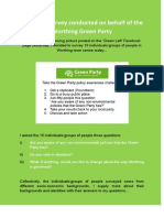 Unofficial Survey Conducted on Behalf of the Worthing Green Party