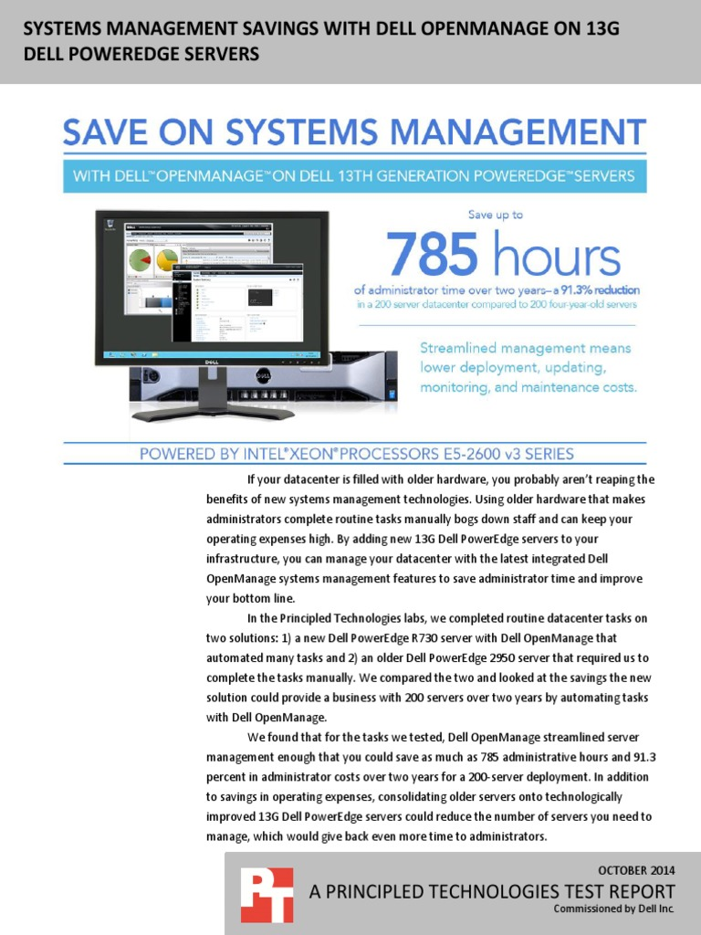 Systems management savings with Dell OpenManage on 13G Dell