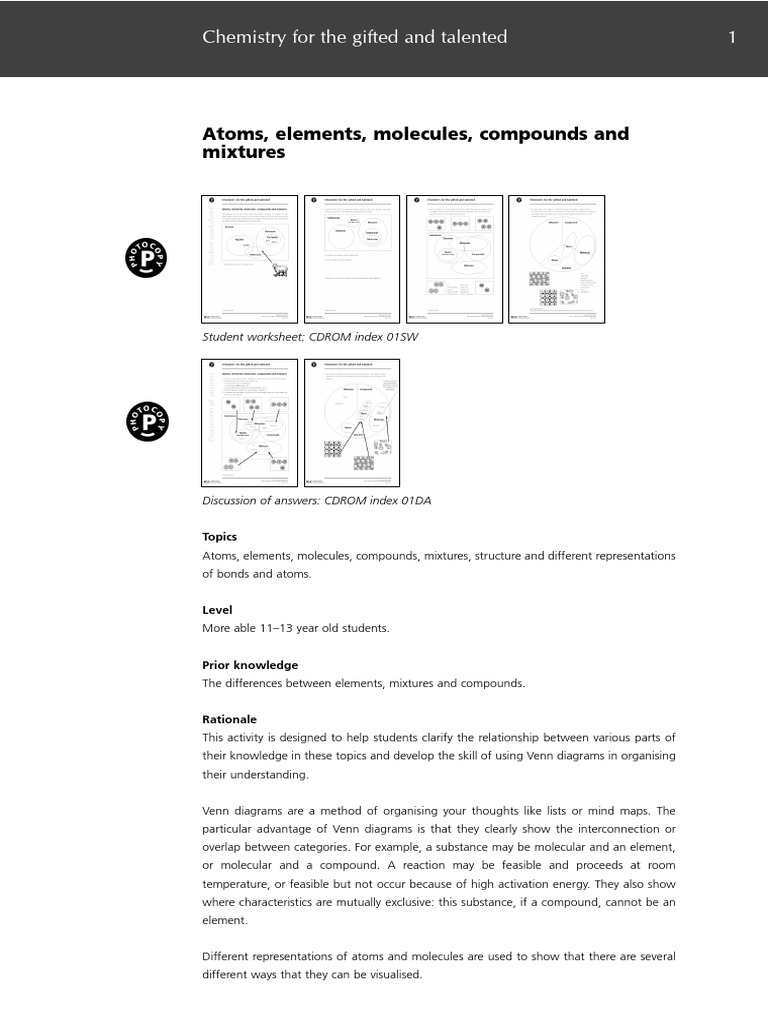 1 Atoms Molecules And Mixturespdf Chemical Compounds Chemical