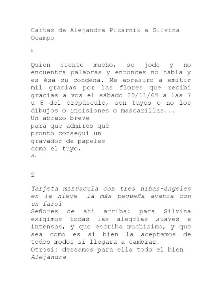 Cartas de Alejandra Pizarnik A Silvina Ocampo   PDF