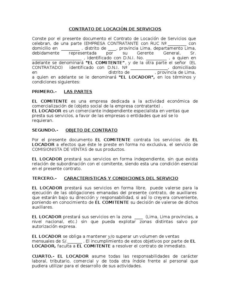 Contrato de locaci n de servicios comisionista libre - Trabajo por horas de limpieza ...