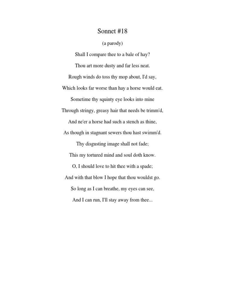 sonnet 18 parodies thou sonnets