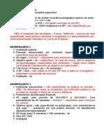 Análise Dos Anteprojetos