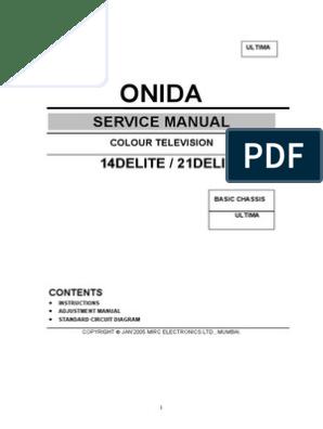 Onida Service Manual Delite | Cathode Ray Tube | Television