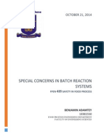 Special Concerns in Batch Reactions