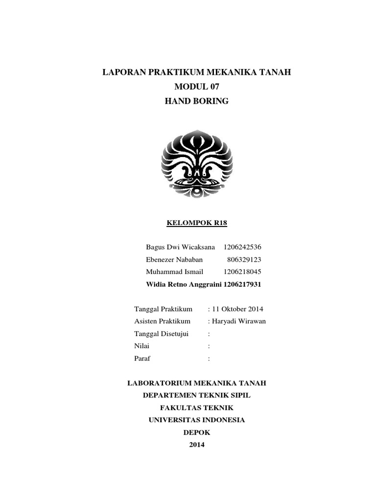 Laporan Mektan Hand Boring Widia R A 1206217931