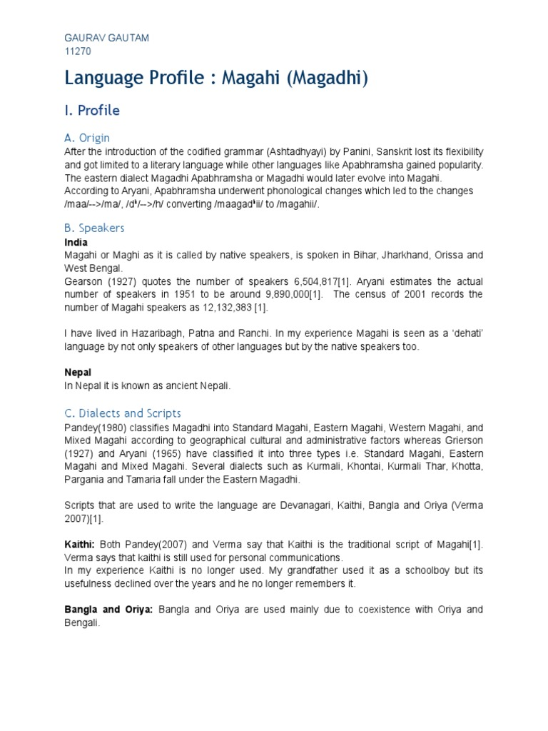 Magahi language   Grammatical Gender   Preposition And Postposition