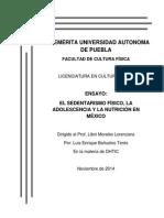 EL SEDENTARISMO FÍSICO, LA ADOLESCENCIA Y LA NUTRICIÓN EN MÉXICO