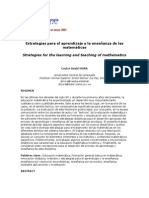 Estrategias Para El Aprendizaje y La Enseñanza de Las Matemáticas Articulo