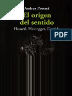 El Origen Del Sentido Sobre Husserl Derrida Heidegger