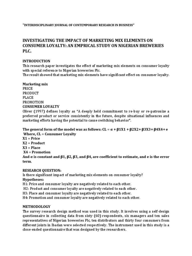 term paper marketing mix