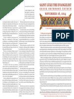November 16, 2014 Sunday Bulletin