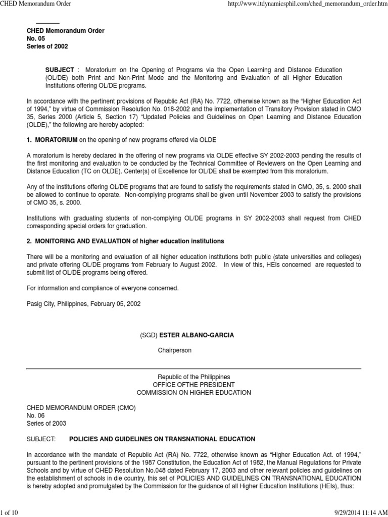 CHED Memorandum Order on Transnational Education | Distance
