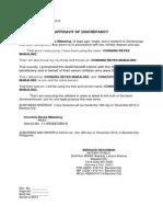 Affidavit of Discrepance - Consing