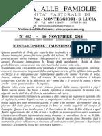 Lettera alle Famiglie - 16 novembre 2014