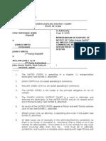 Appointment of Fiduciary Creditor & Debtor, Memorandum