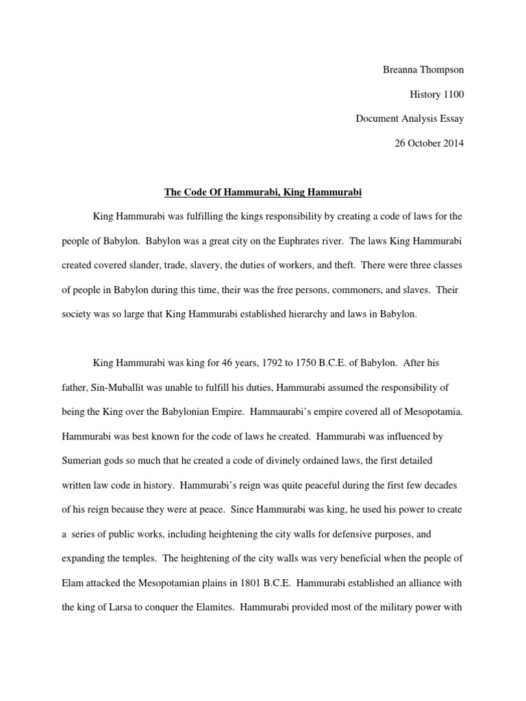 Essays On Importance Of English  Romeo And Juliet English Essay also College Vs High School Essay Code Of Hammurabi Breanna Copy  Hammurabi  Babylon Science Essay Questions