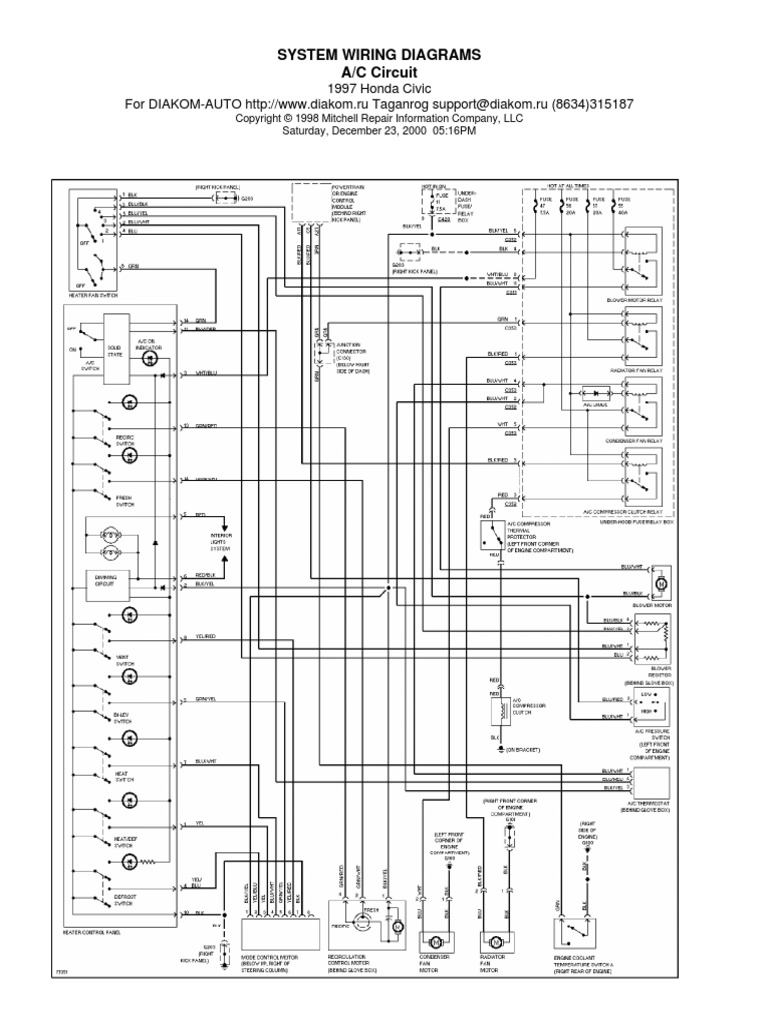 Honda Civic 97 Wiring Diagram | Automotive Technologies | Car on