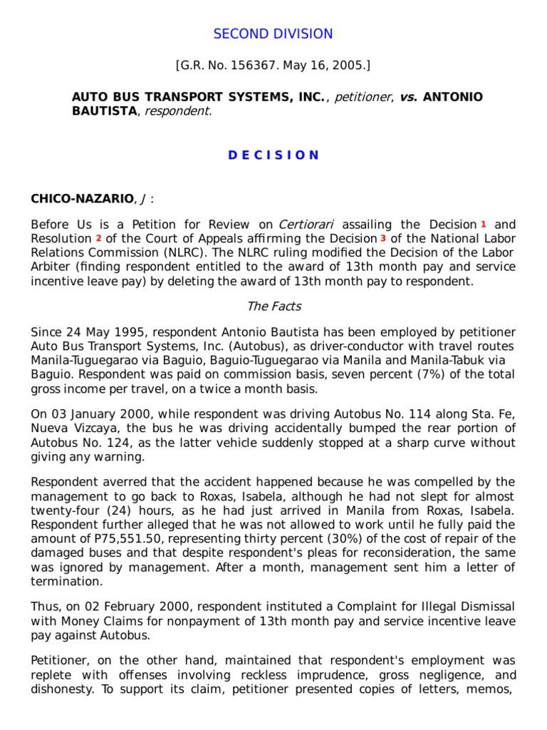 Auto Bus Transport Vs Bautista Employment Labour Law