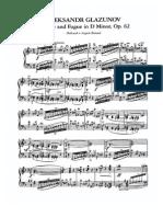 GLAZUNOV PRELUDE AND FUGUE IN D MINOR OP. 62 PIANO