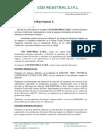 Carta de Presentacion de Cem Idustrial Eirl