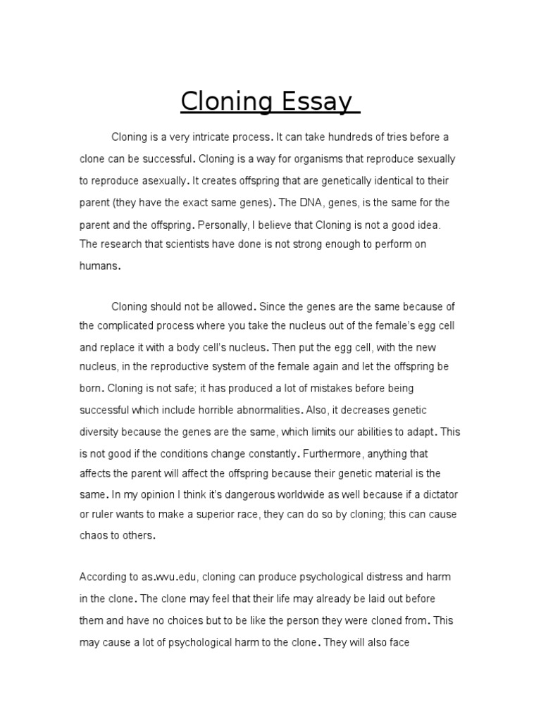 How To Start A Synthesis Essay  Essays With Thesis Statements also Essay About Healthy Lifestyle Cloning Essay  Cloning  Offspring Term Paper Essay