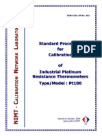 Standard procedure for calibration of industrial platinum resistance thermometers