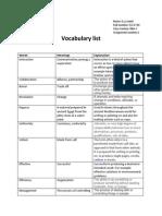Vocabuary List