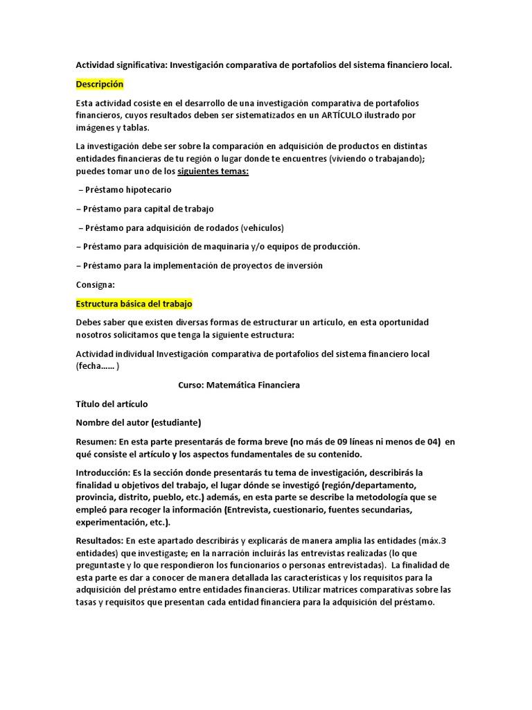 Actividad Matematica Sistema Financiero Bibliografía