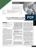 Los Arrendamientos y Su Deducción Como Gasto en La Determinación de Las Rentas Empresariales