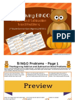 bingo - thanksgiving addition and subtraction 2nd preview