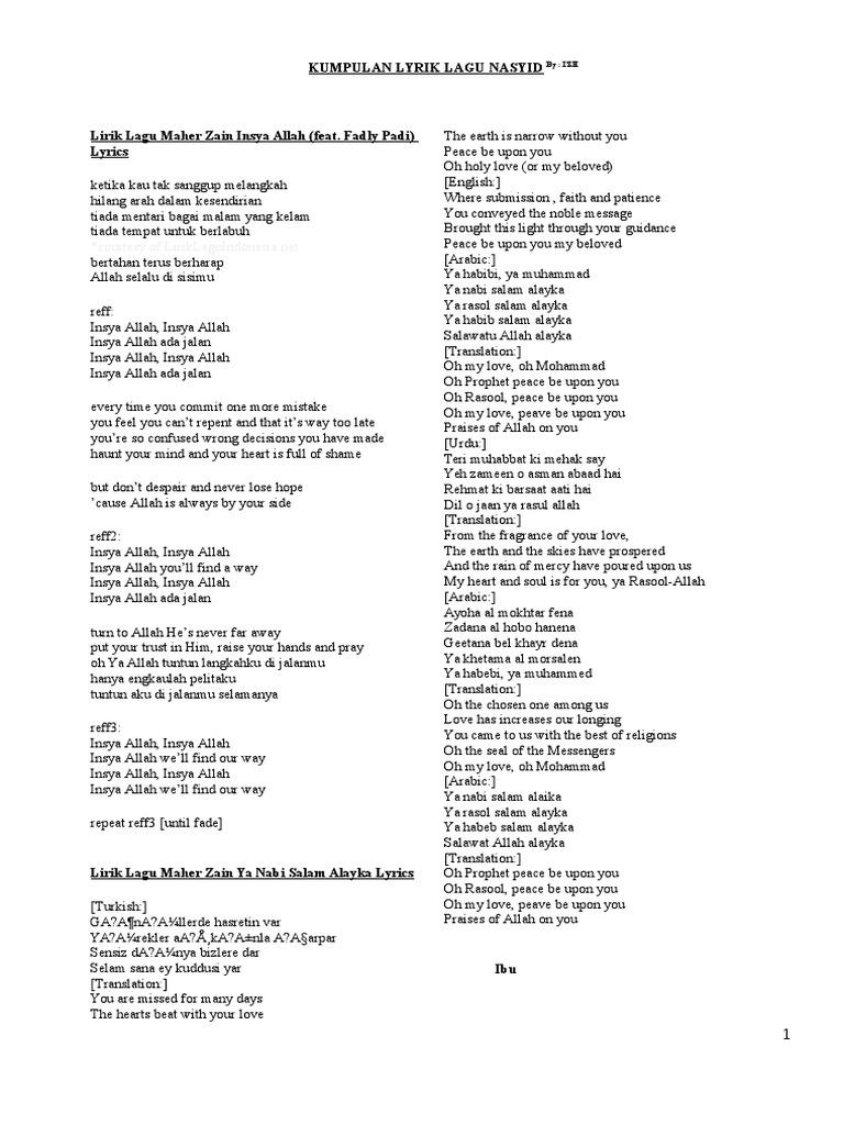 Kumpulan Lirik Lagu Nasyid2 Abrahamic Religions Religious Behaviour And Experience