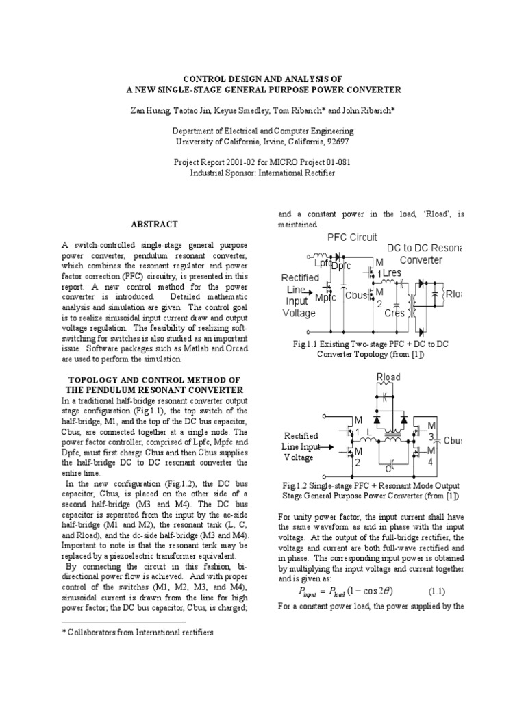 Pendulm Conv Rectifier Capacitor Halfwave Topology The Circuit Is A