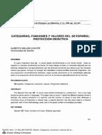 Categorías, Funciones y Valores Del SE Español