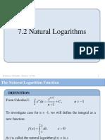 7.2 Natural Logarithms