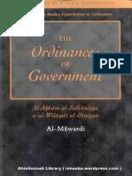 TheOrdinancesOfGovernment Al AhkamAs SultaniyyahByAbuAl HasanAliIbnMuhammadIbnHabibAl Mawardi Text