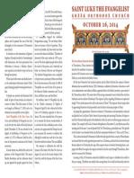 October 26, 2014 Sunday Bulletin