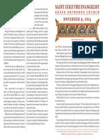 November 9, 2014 Sunday Bulletin