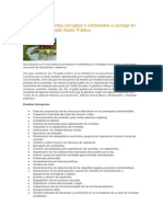 Catalogo de Eventos Corruptos e Ineficientes a Corregir en Pro de Un Adecuado Gasto Público