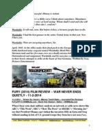 Fury Film Review - War Never Ends Quietly - FuTurXTV & HHBMedia.com - Hiphobattle.com - 11-2-2014