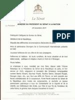 Adresse Du President Du Senat a La Nation a l Occasion Du 18 Novembre 2014