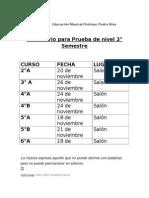 Calendario Para Prueba de Nivel 2